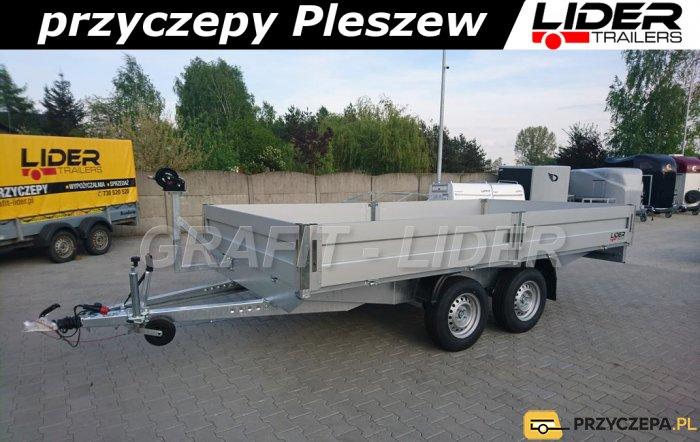 BR-009 przyczpa 450x210cm, ciężarowa AT45, towarowa, burty aluminiowe, platforma DMC 2700kg